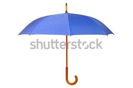 Mavi şemsiye yalıtılmış beyaz fırtına Stok fotoğraf © ajt
