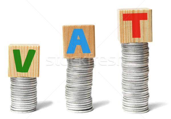 Magas adózás érmék fakockák levelek ÁFA Stock fotó © ajt