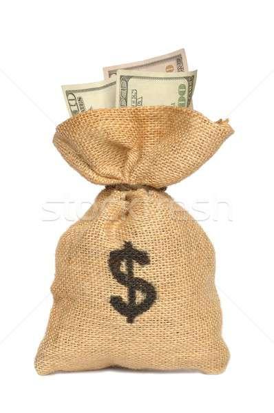 Pénz táska izolált bank arany jegyzet Stock fotó © ajt
