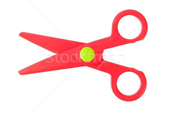 небольшой красный ножницы пластиковых изолированный белый Сток-фото © ajt