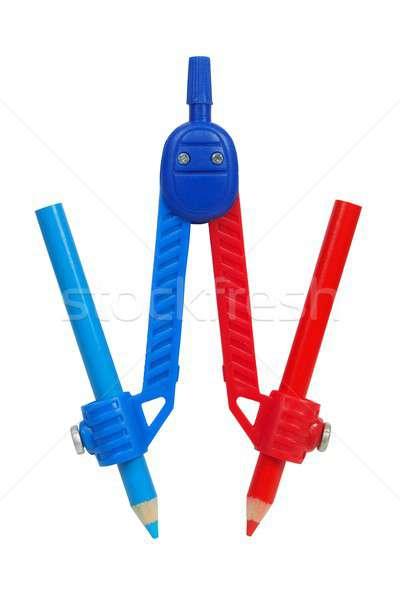 Iránytű piros kék zsírkréták rajz ceruzák Stock fotó © ajt