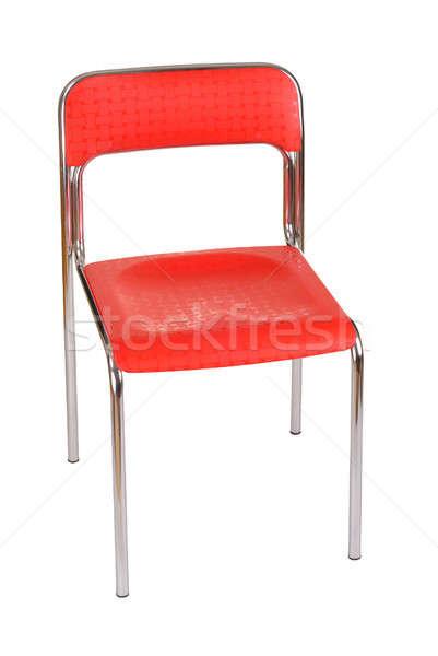 Szék piros izolált fehér fém Stock fotó © ajt