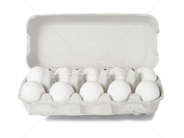 Tojások fehér tíz konténer izolált Stock fotó © ajt