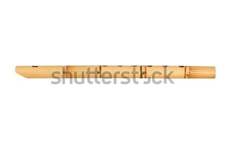 Fából készült furulya fehér játék hang hangszer Stock fotó © ajt