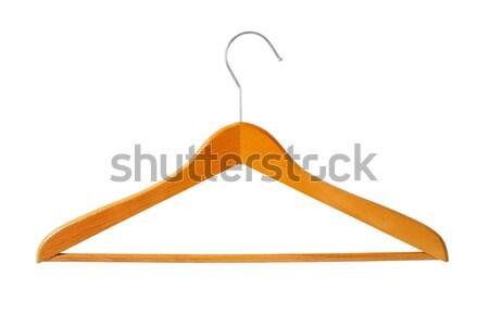 Houten hanger groot kleerhanger geïsoleerd witte Stockfoto © ajt