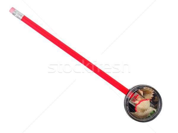 Farbują temperówka biały czerwony odizolowany pióro Zdjęcia stock © ajt
