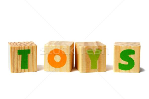 Fakockák játékok szó három játék levelek Stock fotó © ajt