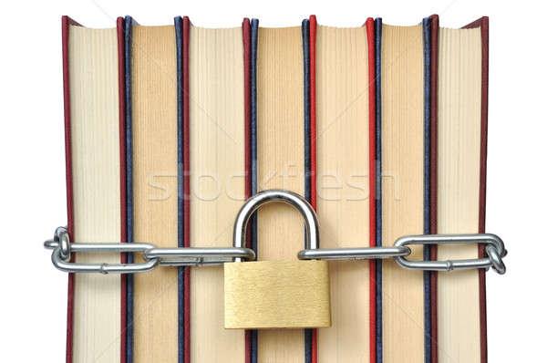 Livro livros cadeado cadeias isolado branco Foto stock © ajt