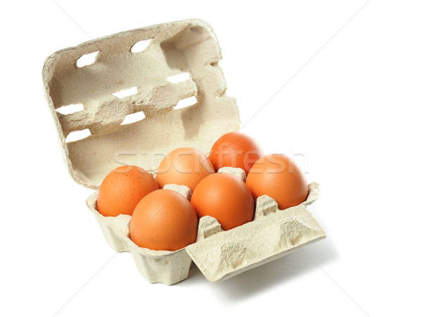 Box with eggs on white Stock photo © ajt