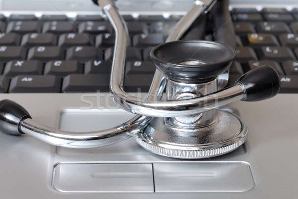 Sztetoszkóp billentyűzet makró laptop billentyűzet számítógép orvos Stock fotó © ajt