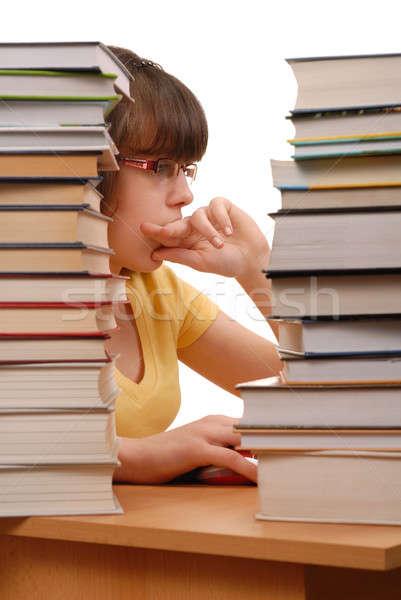 Lány számítógép tinilány könyvek izolált fehér Stock fotó © ajt