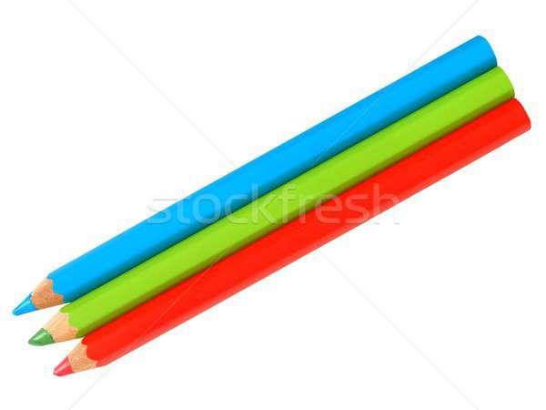 Drie potloden witte Rood groene Blauw Stockfoto © ajt
