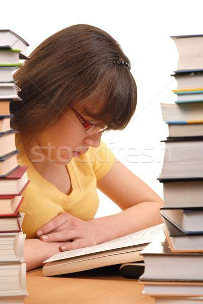 Photo stock: Fille · bibliothèque · adolescente · lecture · livre · école