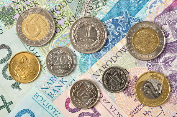 Pénz makró bank jegyzetek érmék Stock fotó © ajt