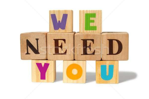 Szükség üzenet fakockák játékok játék kockák Stock fotó © ajt
