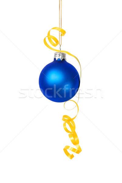Weihnachten Spielerei blau gelb Band isoliert Stock foto © ajt