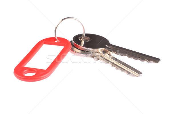 Kulcs piros címke izolált fehér Stock fotó © ajt