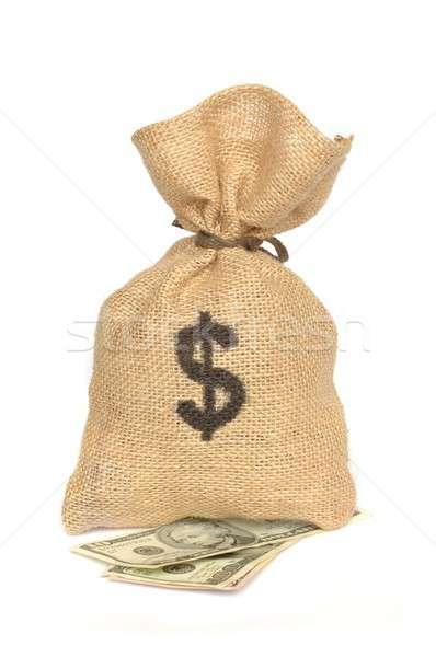 Pénz táska izolált arany jegyzet kincs Stock fotó © ajt