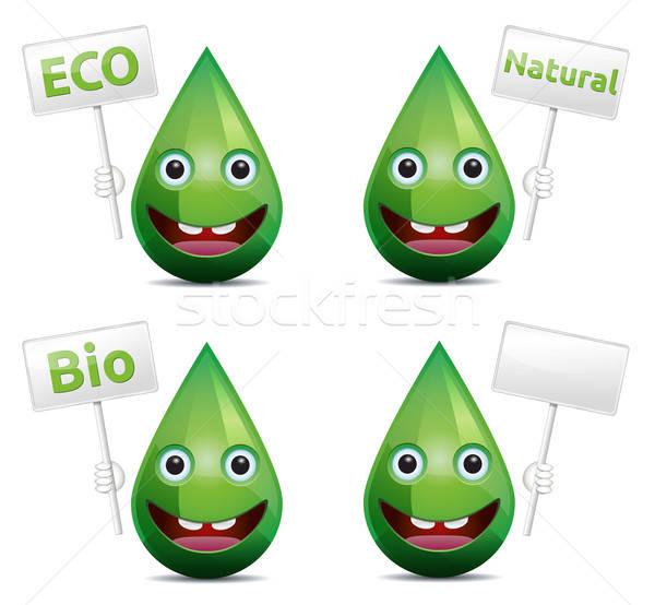 Eco drop bio natuurlijke lachend gezicht emoticon Stockfoto © akaprinay