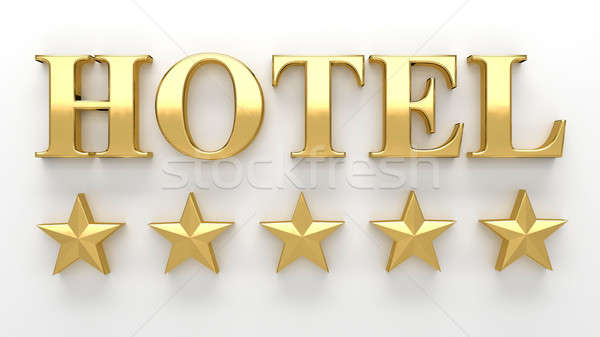 Stock photo: Hotel with stars - gold 3D render on the wall background with so