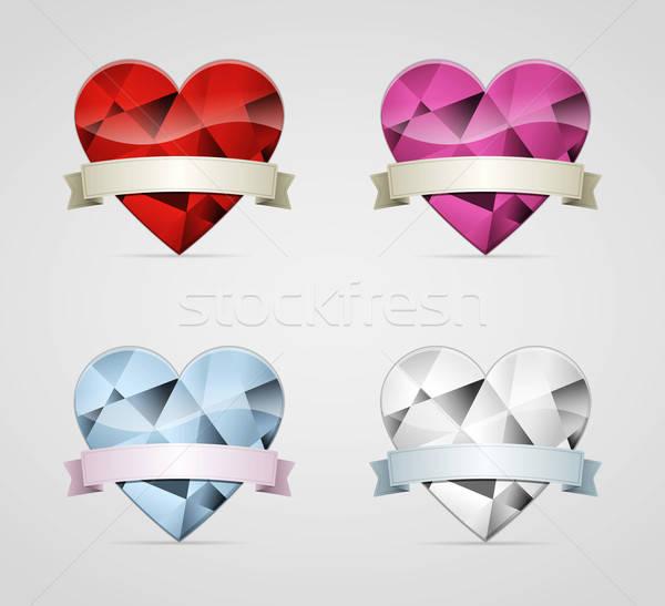 Diamante cuore isolato cuori set nastro Foto d'archivio © akaprinay