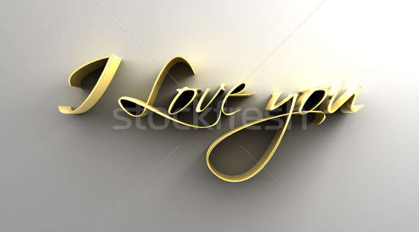 I Love You - gold 3D quality render on the wall background with  Stock photo © akaprinay