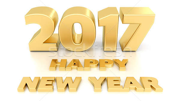 Happy New Year 2017. Isolated 3D design template on white backgr Stock photo © akaprinay