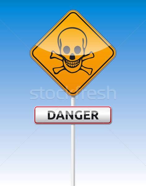 Pericolo cranio traffico isolato vettore bordo Foto d'archivio © akaprinay