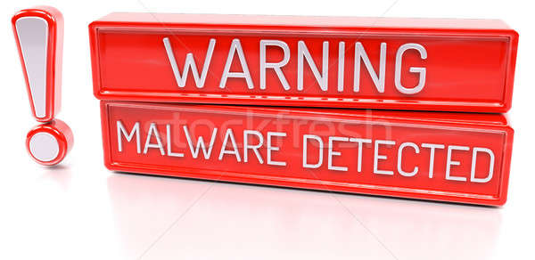 Warning Malware Detected - 3d banner, isolated on white backgrou Stock photo © akaprinay