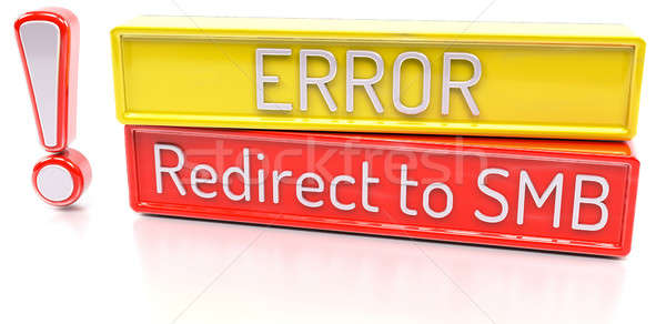 Stock photo: Redirect to SMB - Computer system error warning - 3D Render