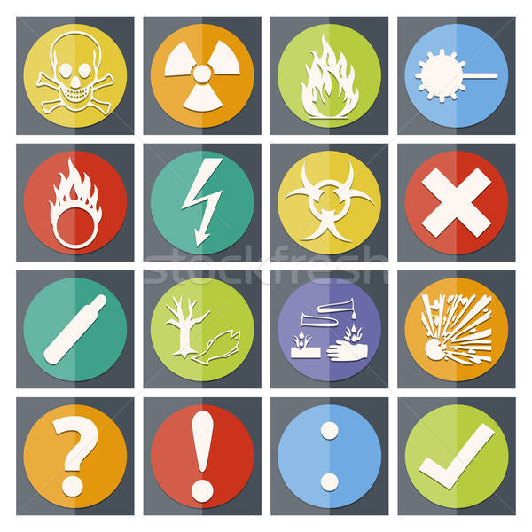 Danger icon color paper fold style Stock photo © akaprinay