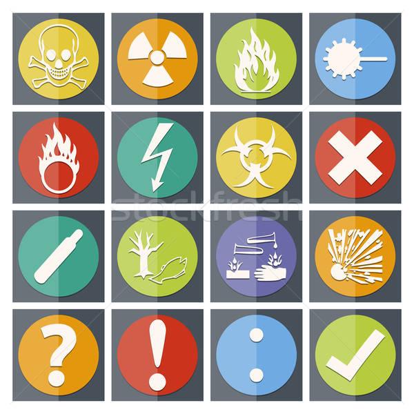 Pericolo icona colore carta stile isolato Foto d'archivio © akaprinay