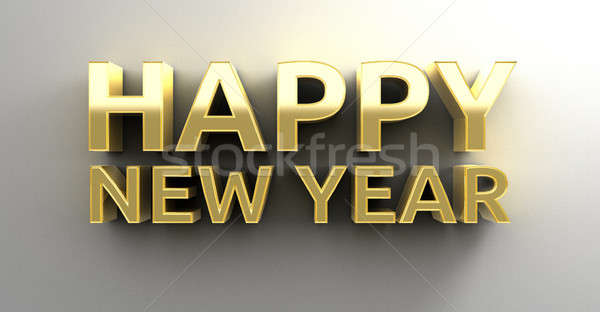 Happy New Year - gold 3D quality render on the wall background w Stock photo © akaprinay