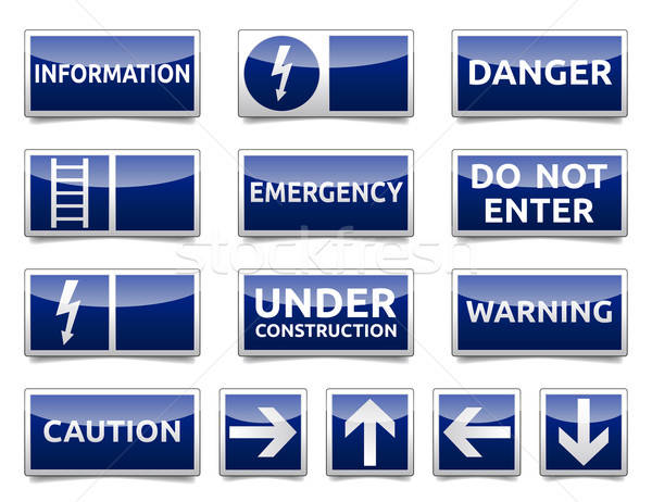 Danger blue sign mini set Stock photo © akaprinay