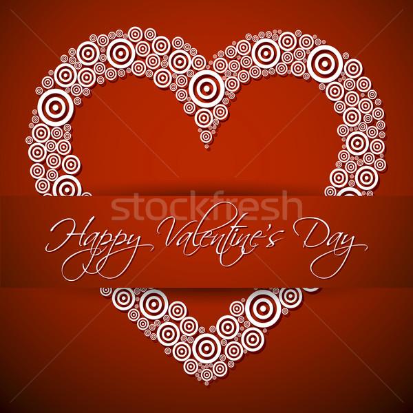 Gelukkig dag kaart groot witte hart Stockfoto © akaprinay