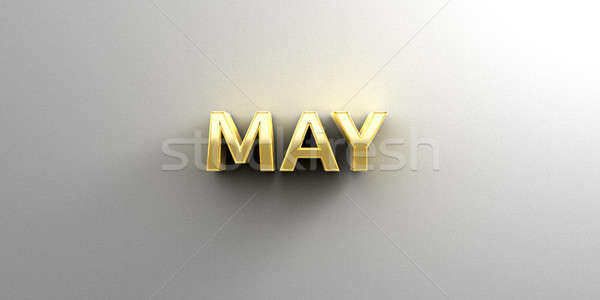 Stock photo: May month gold 3D quality render on the wall background with sof