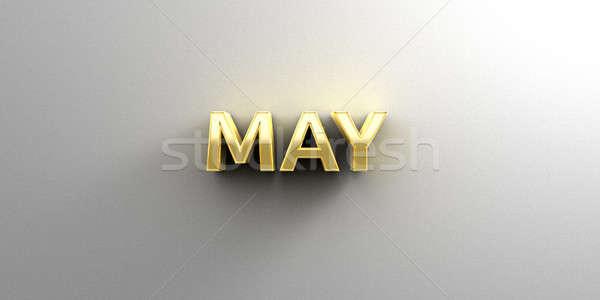 Maand goud 3D kwaliteit geven muur Stockfoto © akaprinay