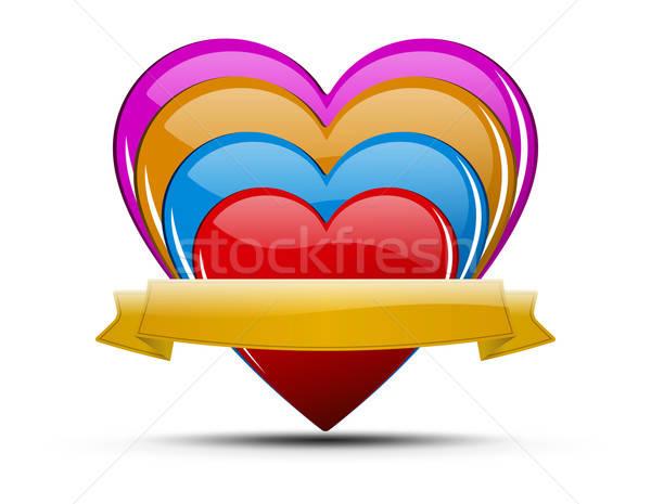 Hart illustratie ingesteld glanzend gekleurd harten Stockfoto © akaprinay
