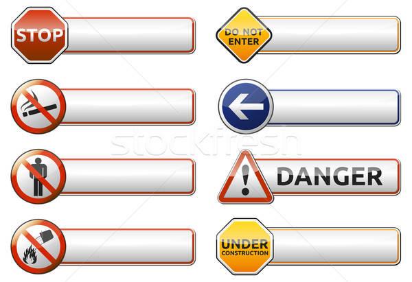 Pericolo divieto segno banner raccolta isolato Foto d'archivio © akaprinay