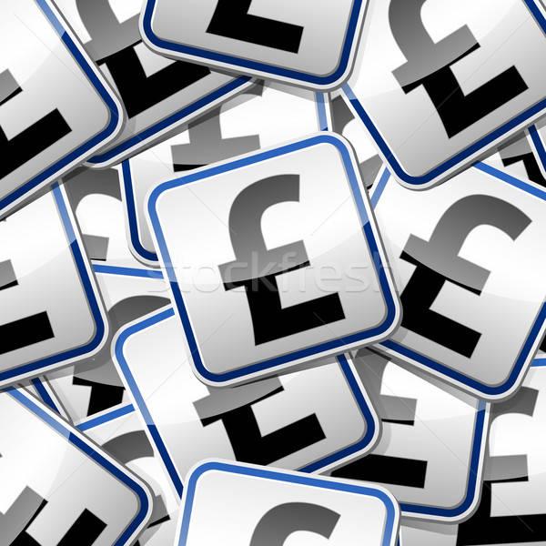 Kopiëren doopvont pond geld teken sticker Stockfoto © akaprinay