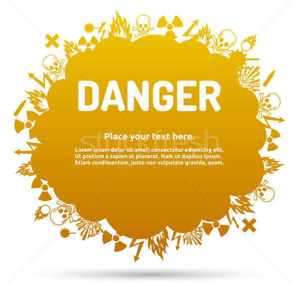 Danger sign set in cloud banner Stock photo © akaprinay