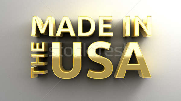Made in the USA - gold 3D quality render on the wall background  Stock photo © akaprinay