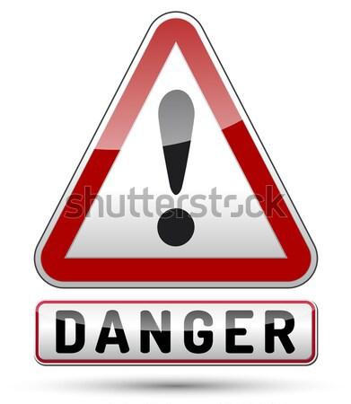 Signo de admiración peligro triángulo señal de peligro negro frontera Foto stock © akaprinay