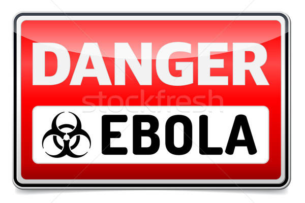 Ebola virus danger sign with reflect and shadow on white backgro Stock photo © akaprinay