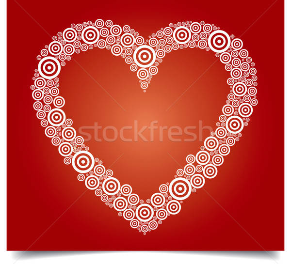 Stock photo: heart white circle red bg