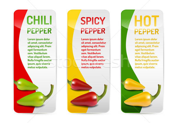 Red green and yellow Chili pepper banner collection with reflect Stock photo © akaprinay