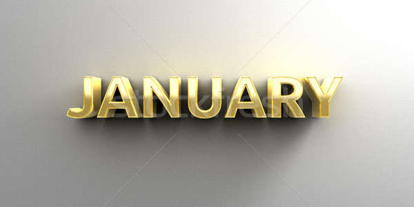 January month gold 3D quality render on the wall background with Stock photo © akaprinay