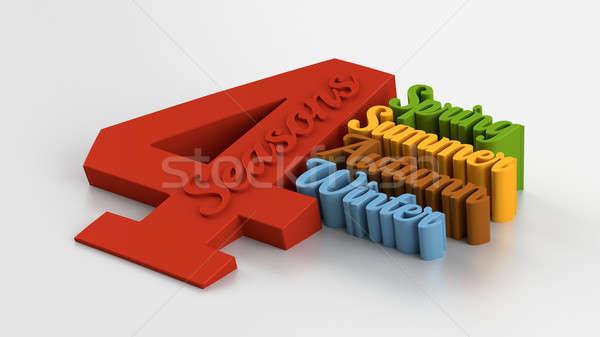 Négy évszak 3D minőség render izolált fény Stock fotó © akaprinay