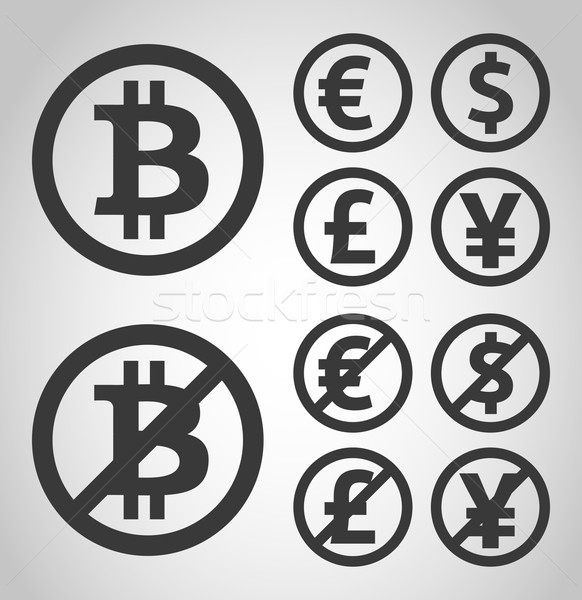 Bitcoin euro Dolar chrzcielnica jen ceny Zdjęcia stock © akaprinay