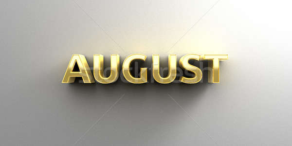 August month gold 3D quality render on the wall background with  Stock photo © akaprinay
